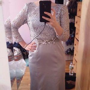 Light blue Bridesmaid prom dress adrianna papell