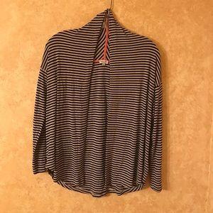 Splendid Sweaters - Splendid Striped Draped Shawl Collar Open Cardigan
