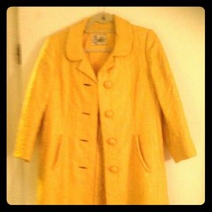 Vintage yellow brocade jacket and matching dress