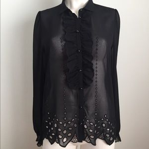 The Kooples Tops - The Kooples sheer long sleeve button up top