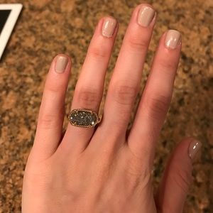 Kendra Scott drusy ring, gold and silver, size 5