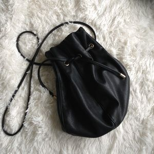 STREET LEVEL black crossover bucket bag