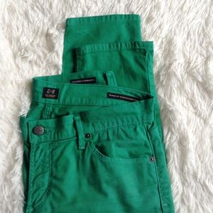 Citizens of Humanity Denim - CITIZENS green skinny mid rise cropped jeans