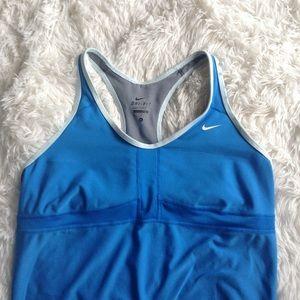 Nike Tops - NIKE blue racer backexercise tank w/built in bra