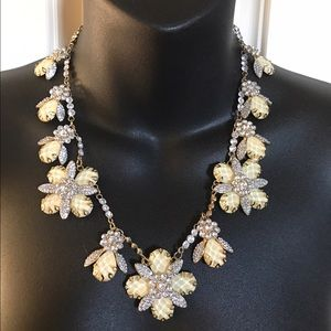 Crystal bee flower statement bib crystal necklace