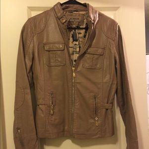 Jackets & Blazers - Tan beige faux leather jacket