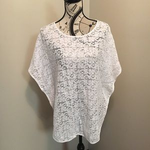 Eberjey Other - White Lace Eberjey Batwing Top / Suit Cover OS