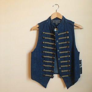 Vintage Jackets & Blazers - Vintage Military Style Denim Vest