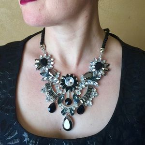 "Jewelry - ""Suzette"" Black Crystal Statement Necklace"