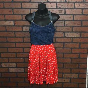 Angie Dresses & Skirts - Denim & Print Dress
