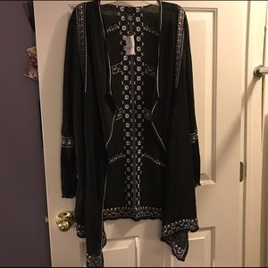 Black and White Embroidered Cardigan