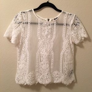 • Cropped Lace Blouse •