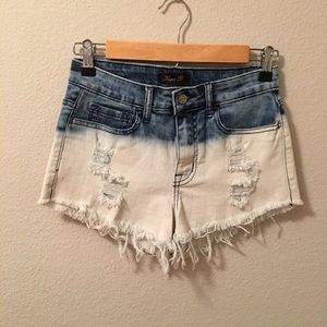 • High Waist Bleached Denim Distressed Shorts •