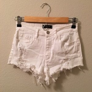 • High Waist White Denim Distressed Shorts •