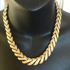 Jewelry - Gold byzantine pave crystal bib statement necklace
