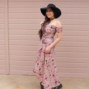 Boutique Dresses & Skirts - Mauve Off shoulder Floral Prairie Dress