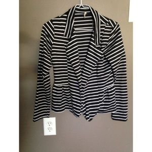 Olivia Moon Jackets & Blazers - Black and White Striped Peplum Blazer