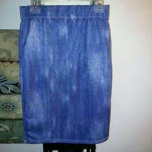 Dresses & Skirts - Denim look acid wash print stretch bodycon skirt