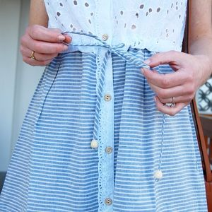 Ocean Shores White/Blue Tie Waist Dress ✨