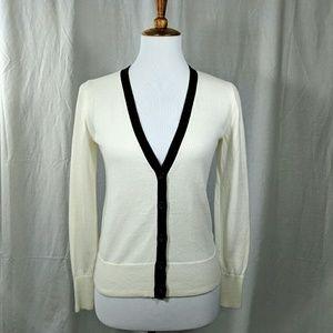 Old Navy Tops - Retro-Look V-neck Off-White Cardigan w/ Black Trim