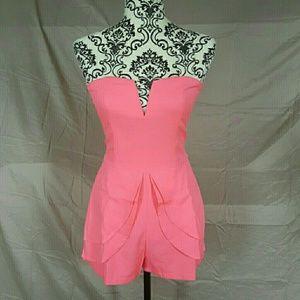 Tea n Cup Pants - Pink Peplum Romper