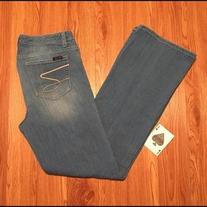 👖Seven7👖 Distressed Wash Flare Jeans Size 8 #128