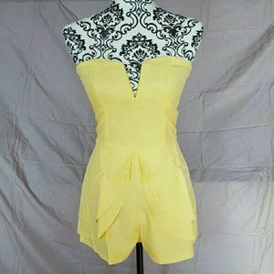 Tea n Cup Pants - Yellow Peplum Romper