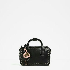 Zara studded mini bowling bag black vegan 8750