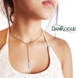 Dani Rogue Jewelry - Feather Drop Chain Choker