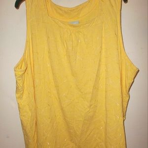 Sunny Yellow Embroidered Tank Top Womens Plus 2X