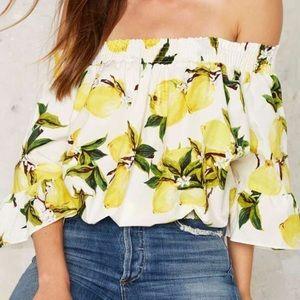 pursue Tops - Off the shoulder lemon crop top