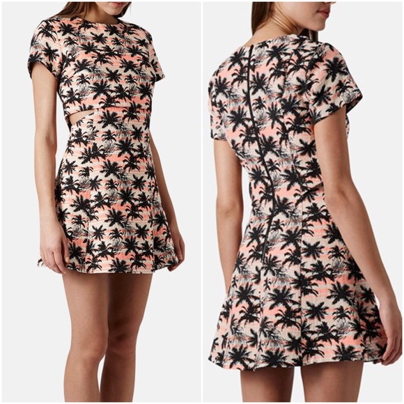 NWT Topshop Cutout Palm Tree Jacquard Skater Dress d4b03fd38
