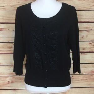 Elle Sweaters - Elle Button Up Cardigan Black Lace Detailing XL