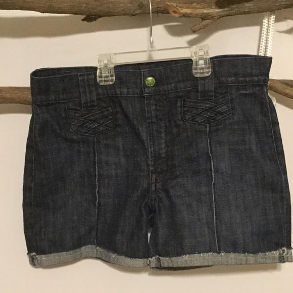 7 For All Mankind Pants - Dark Wash CutOff Jean Shorts