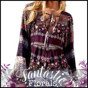 Boho Key-Hole Floral Tunic
