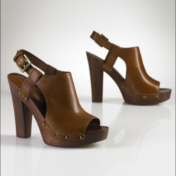 1f62035554 Lauren Ralph Lauren Shoes - Lauren Ralph Lauren Sadia Tan Wood Block Heels,  6