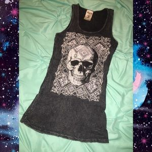 Vocal Skull Rhinestone Grey Tank Biker Small Punk