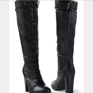 Venus-Black Tall Knee High Lace Up Boots