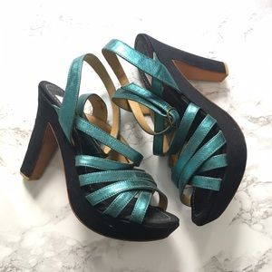 Lanvin metallic blue leather strappy sandals sz 37