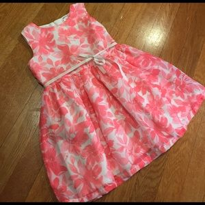 Carter's Other - Carter's pink floral dress with waist ribbon