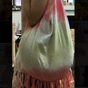 Handbags - Boho Bag! Fringed pink and yellow Tie Dye hobo!