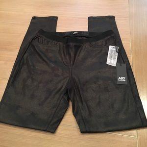 ABS Platinum Leather Like Leggings Sz 6