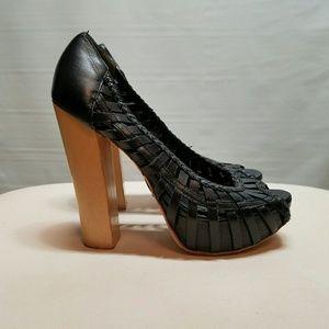 Bebe black woven high heels size 6