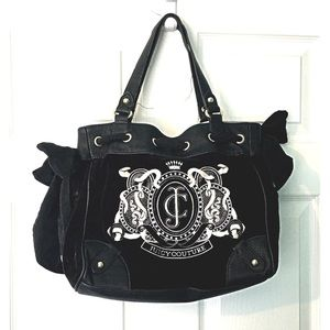 Juicy Couture Handbag Black Velvet Leather