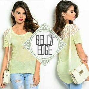 Bella Edge Tops - Sage green ivory crochet lace top