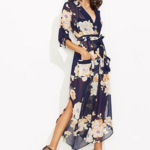 Dresses & Skirts - Floral Navy Self Tie Wrap Chiffon Dress