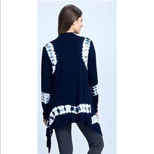 Sunday Sweaters - Sunday Tie Dye Cardigan Long Blue White Plus Size