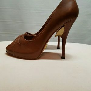 Lamb brown leather high heels size 6.5