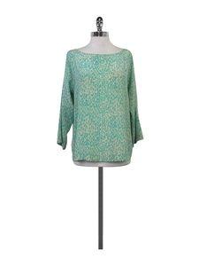 Tucker- Turquoise & Tan Leopard Print Silk Blouse Sz M