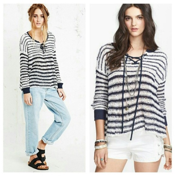 b1b529afb3 Free People Sweaters - •Free People• Striped Lace Up Sweater